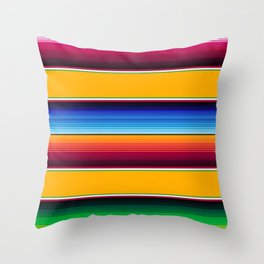 Traditional Mexican Serape in Yellow Multi Throw Pillow