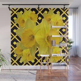 Black & Gold Pattern Daffodils Art Design Wall Mural