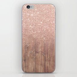 Modern faux rose gold glitter ombre brown rustic wood color block iPhone Skin