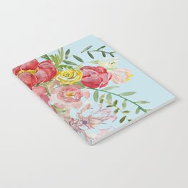 Bouquet of Watercolor on Blue Background Notebook