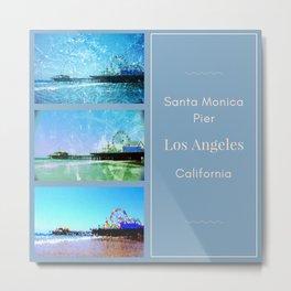 Square Blue Santa Monica Pier Collage Metal Print