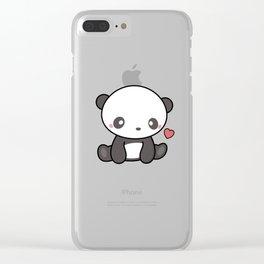 Cute Kawaii Panda With Heart Clear iPhone Case