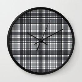 Clashing Gray Day Plaid Wall Clock