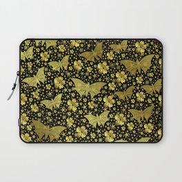 gold, golden, flowers, stars, butterfly, pattern, bright, shiny, elegant, color Laptop Sleeve