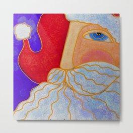 Blue Eyed Santa Abstract Digital Painting  Metal Print