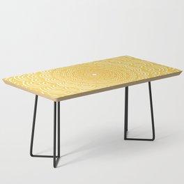 Spiral Mandala (Yellow Golden) Curve Round Rainbow Pattern Unique Minimalistic Vintage Zentangle Coffee Table