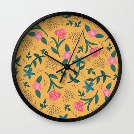 Watercolor Roses Pattern - Mustard Wall Clock