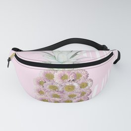 Floral Pineapple Stripes Pink Fanny Pack
