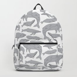 Whale Pattern - White Backpack