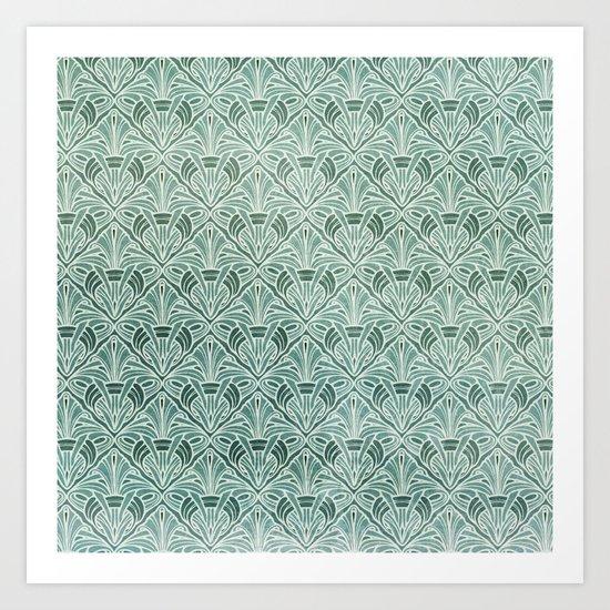 Art Nouveau Grunge Pattern Art Print