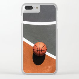 Basketball field with Ball on ground Clear iPhone Case