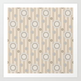 Mod Flowers and Stripes in Beige and Gray Art Print
