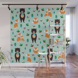 Christmas pattern with bears, foxes and birds #society6 #homedecor Wall Mural
