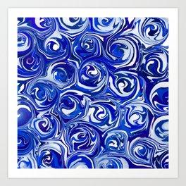 China Blue Paint Swirls Art Print