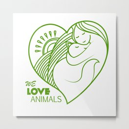 Shelter pets sign icon. Animal protection. We love animals. Vegan simbol. Logo, label, love to all a Metal Print
