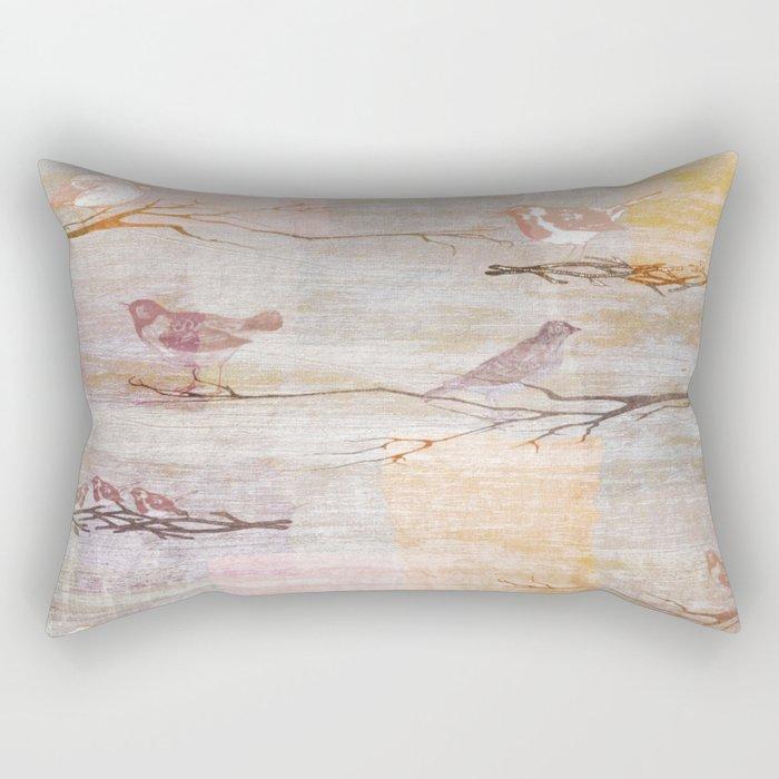 Golden Pink Birds Rectangular Pillow