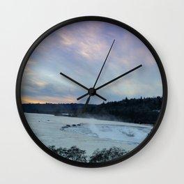 A CHILLY WINTER WILLAMETTE FALLS SUNSET Wall Clock