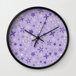 Winter Purple Stars Starry Night Background Wall Clock