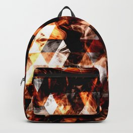 Electrifying orange sparkly triangle fire flames Backpack