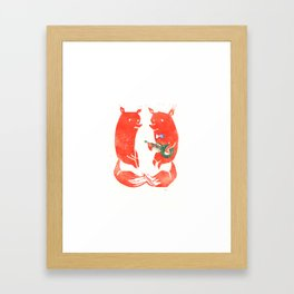 Mister Fox in love Framed Art Print