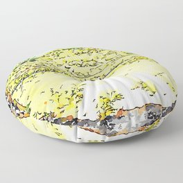 Pieve di Tho: arch of the bridge and countryside landscape Floor Pillow