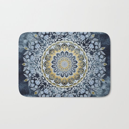 Blue Floral Mandala Bath Mat
