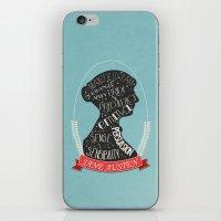 jane austen iPhone & iPod Skins featuring Jane Austen Silhouette Portrait by Bookish Prints