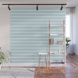 Baby Blue and White Horizontal Stripes Pattern Wall Mural