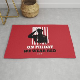 We Wear Red Friday American Flag Military Rug