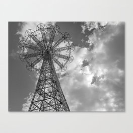 Coney Island Parachute Jump. Black and white photography Canvas Print