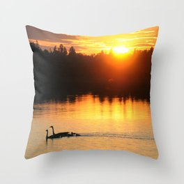 Canada Geese Family Sunset Throw Pillow