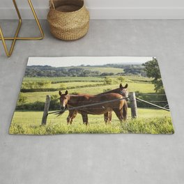 Mules gaze from opposite directions in rural Clayton County Iowa Rug
