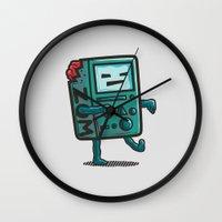 bmo Wall Clocks featuring ZOM-BMO by Krisren28
