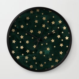 Modern gold christmas stars geometric pattern green watercolor Wall Clock