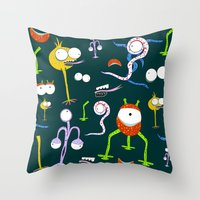 monsters Throw Pillows featuring MONSTERS!!! by d.ts