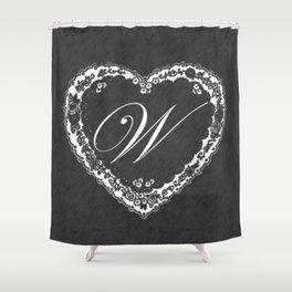 W Vintage Valentine Chalkboard Shower Curtain