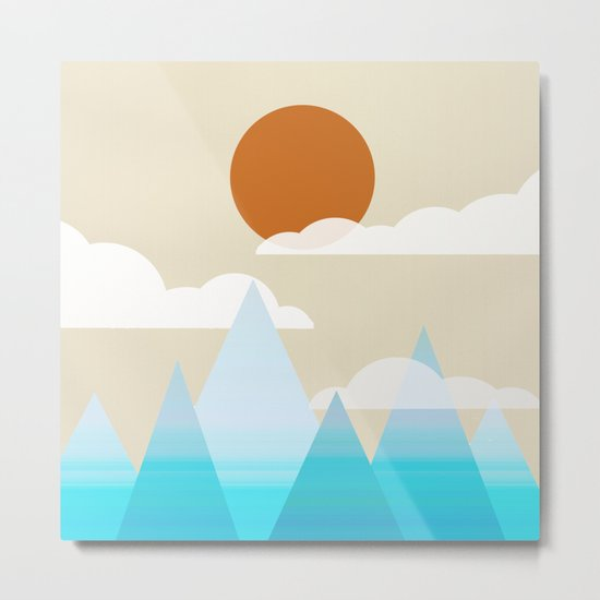 Sun, Clouds and Mountains Metal Print