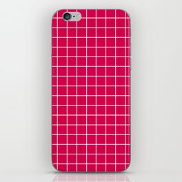 UA red - fuchsia color - White Lines Grid Pattern iPhone Skin