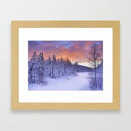 II - Sunrise over a river in winter near Levi, Finnish Lapland Framed Art Print