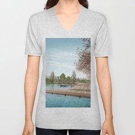 lake embankment trees graphics spoon platform Unisex V-Neck