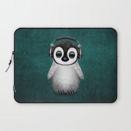 Cute Baby Penguin Dj Wearing Headphones on Blue Laptop Sleeve