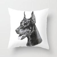 doberman Throw Pillows featuring Doberman by Danguole Serstinskaja