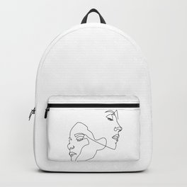 Line art, Line Art Abstract, Continuous Line, Drawing of Set Faces And Hairstyle, Line art Backpack