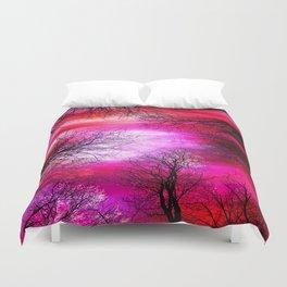 Black Trees Hot Pink Fuchsia Red Sky Duvet Cover