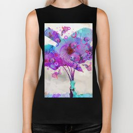 Palm Flower with Fish Biker Tank