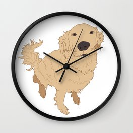 Golden Retriever Illustration on a White Background Wall Clock