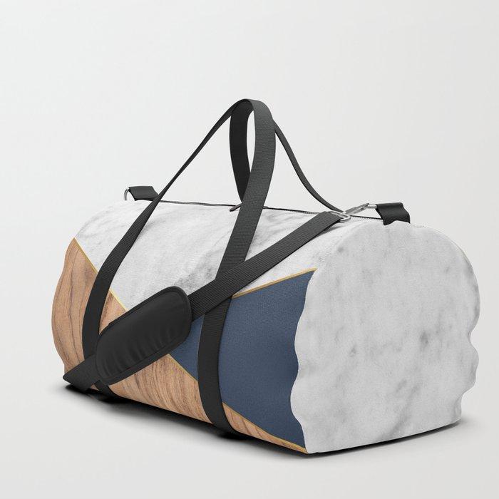 White Marble - Wood & Navy #599 Duffle Bag