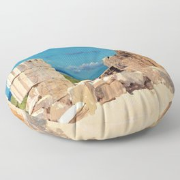 Broken Columns, View From The Parthenon, Athens - Digital Remastered Edition Floor Pillow