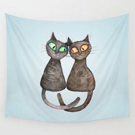 Two cute loving cats Wall Tapestry