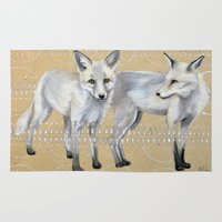 foxes Area & Throw Rugs featuring foxes by Ashley White Jacobsen